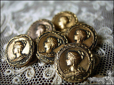 Original Antique French Victorian Art Nouveau Metal Buttons - Sold Individually