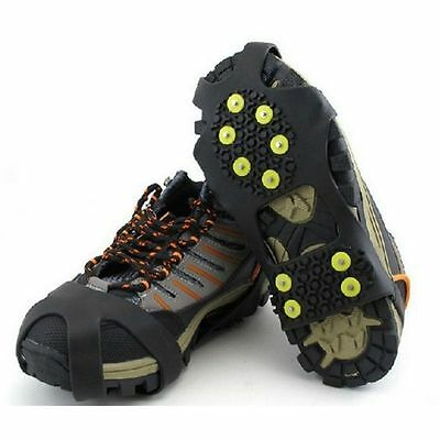 10 Stud Snow Ice Climbing Safety Anti Slip Boots Shoes Spikes Grips Cleats S-XL