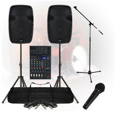 Complete Band Live Stage PA Sound System 800W 6Ch Mixer Speakers DJ Party