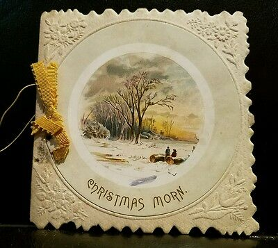 """Rare Antique """"christmas Morn"""" Card Booklet By M. F. Whidden Pub. George Whidden"""