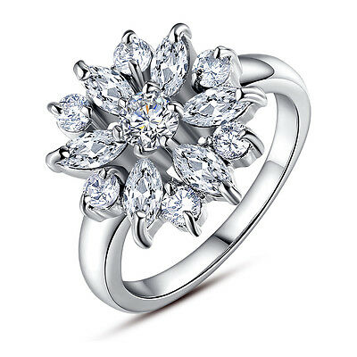 Gorgeous Women's Flower Round Cut White Sapphire 925 Silver Ring Size 6-10