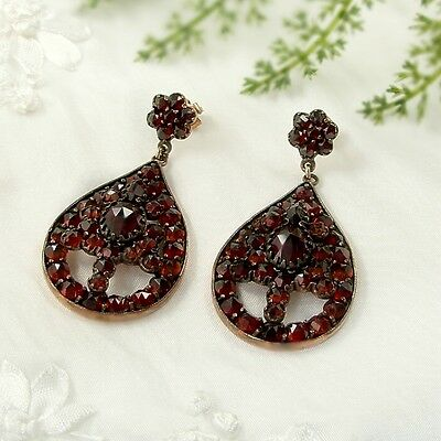 Large Vintage garnet drop earrings w/14ct gold studs Victorian style || ГРАНАТ