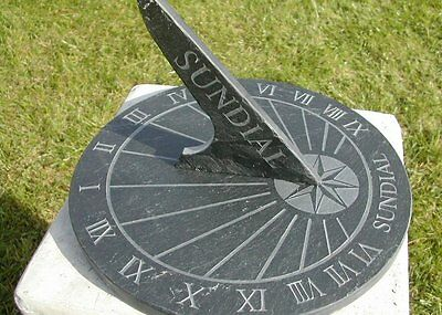 Round Garden Sundial Outdoor Ornament Decoration Terrace Hour Indicator Slate