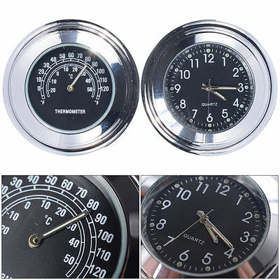 """7/8"""" 1"""" Motorcycle Handlebar Clock Temp Thermometer For Harley Glide Black MA166"""