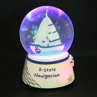 LED Sailing Sailboat Ship Snow Globe Musical Box Waterball Toys Gift Home Decor