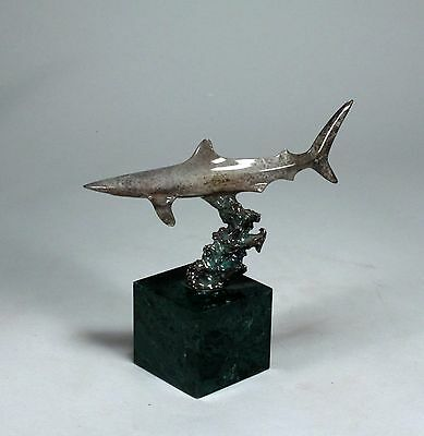 BRONZE SHARK Figurine Antique silver patina New Direct from JOHN PERRY Statue