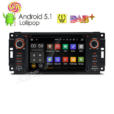 Android 5.1 Autoradio DVD Navigation für Jeep Dodge Chrysler DAB+ WiFi RDS OBD2