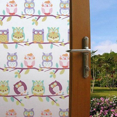 "Cartoon Owl Static Cling Window Treatment Film For Kid's Room 17.7""-by 78.7"""