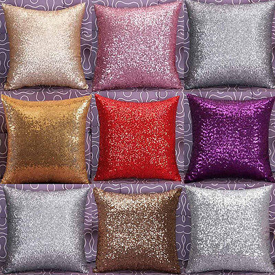 """Solid Glitter Sequins Throw Pillow Case Lounge Cafe Decor Cushion Cover 16""""x16"""""""