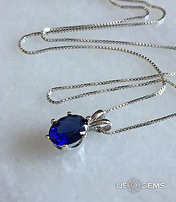 925 Sterling Silver pendant created 1 ct. Sapphire Chain Necklace Jewelry. @