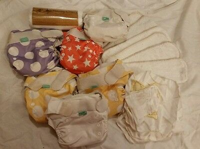 6 tots bots easy fit bamboo nappies with inserts and liners used