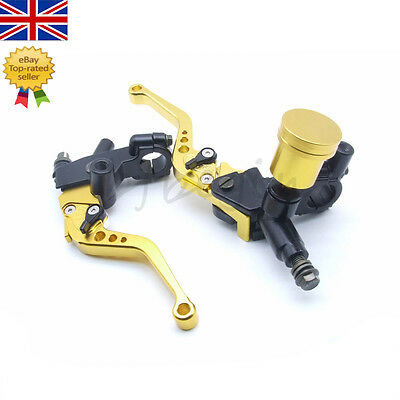 "7/8"" Motorcycle Handlebar Hydraulic Brake Master Cylinder Clutch Lever Yellow"