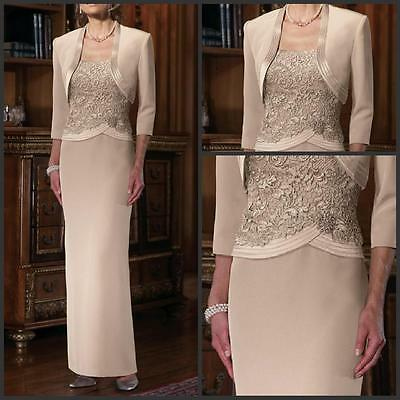 New Khaki Elegant Lace Applique Mother Of The Bride Sheath Long Sleeves Gowns