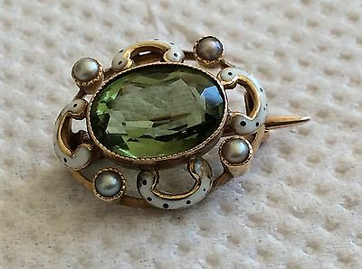 STUNNING BEAUTIFUL VICTORIAN 15ct ENAMELLED PERIDOT AND SEED PEARL LACE BROOCH.