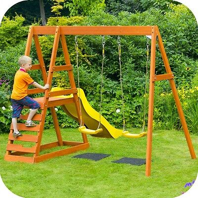 Plum Tamarin Wooden Climbing Frame with Double Swings and Slide