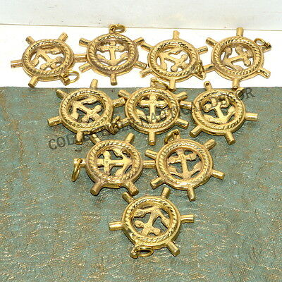 Brass Ship Anchor Wheel Key Chain Maritime & Collectible Lot Of 10
