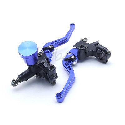 "7/8"" Motorcycle Universal Blue Clutch Brake Lever Master Cylinder Oil Reservoir"
