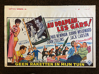 JOAN COLLINS - PAUL NEWMAN - Orig Vintage 'RALLY ROUND FLAG' BELGIAN POSTER 1958