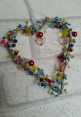 Hanging Bright Beaded Heart With Butterflies Decoration. Wedding. New. Bedroom