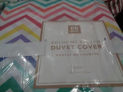 Pottery Barn Teen Color me zig Zag  twin duvet cover  New