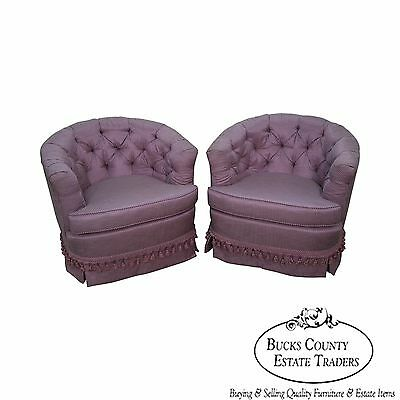 Quality Pair of Tufted Barrel Back Swivel Lounge Chairs