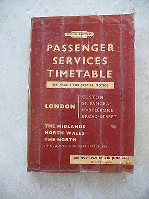 British Railways London Midland Region Passenger Timetable Nov 1959 no Map