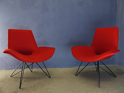 1 of 2 VINTAGE MID CENTURY 50s PIERRE GUARICHE STYLE ARMCHAIR HAIRPIN METAL LEGS