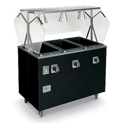 Vollrath T38769 3 Well  Hot Food Steam Table Mobile w/ Storage Cherry