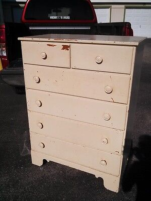 Antique Vintage Ethan Allen Solid Wood Tall Chest of Drawers Dresser