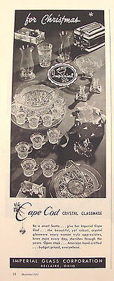 1952 Imperial Glass Cape Cod Glass Ad Basket Punch Set Candleholders & More