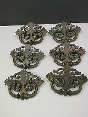 "Set of 6 Metal brass Ornate Fancy Large Vintage Dresser Pulls 3"" x 5"""