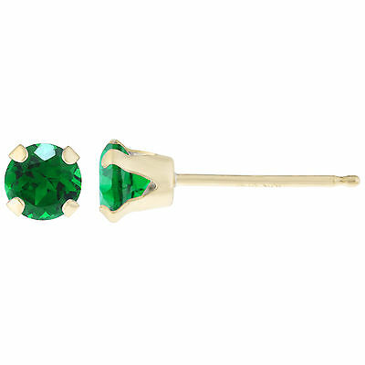 .20 CT Round 3MM Natural Green Emerald 14K Yellow Gold Stud Earrings