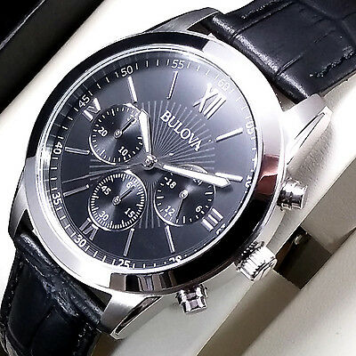 ��New £199 Bulova Mens Chronograph Watch Stainless Steel Black Leather