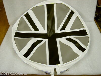 Union Jack Grey/silver Spare Wheel Cover With Half Zip Fasten Fits Lambretta