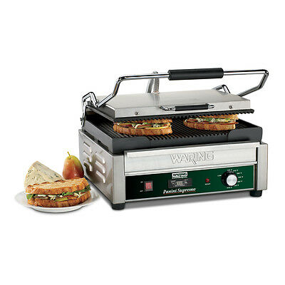 "Waring WPG250T Panini Supremo Panini Grill 14.5"" x 11"" Ribbed w/ Timer 120V"