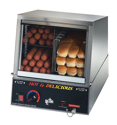 Star 35SSA Hot Dog Machine 170 Hot Dog Steamer & 18 Bun Warmer