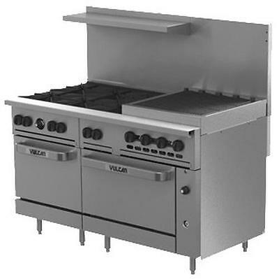 """Vulcan 60SC-6B24CB 60"""" Range 6 Burner 24"""" Charbroiler with 1 Convection Oven"""