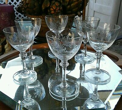 Vintage set of 6 crystal cordial stemmed sherry glasses with flower pattern