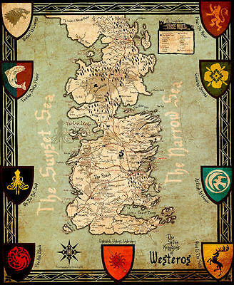 """Game of Thrones ( 11"""" x 13-3/4"""" ) Map Collector's Poster Print - B2G1F"""