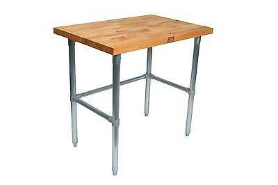 "John Boos JNB11 96"" x 30"" Maple Wood Top Work Table with Galvanized Bracing"