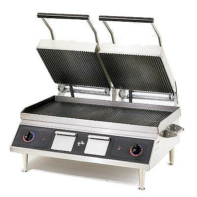 Star PGT28IGT Panini Sandwich Grill-Iron/Grooved Top & Smooth btm -14 X 28