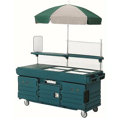 Cambro KVC854192 4 Well Vending Merchandising Cart w/ Umbrella Granite Green