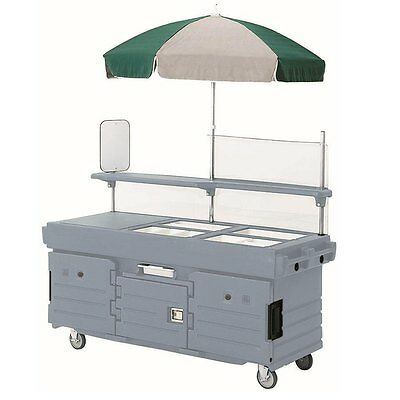 Cambro KVC854191 4 Well Vending Merchandising Cart w/ Umbrella Granite Gray