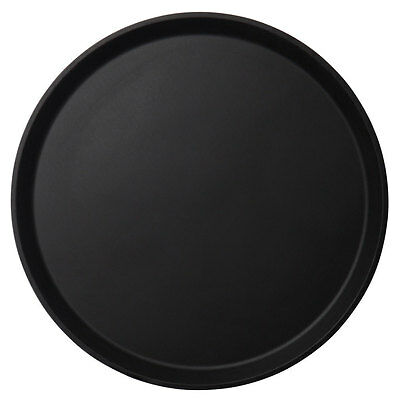 "Cambro 900CT110 Case of 12 - 9"" Round CamTread Serving Tray Black Satin"