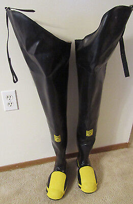 "Ranger Rubber Co. Steel Midsole Rubber Safety Fishing Wader Boots 36""Tall SIZE 6"