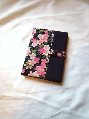 Reusable A5 Diary / Book Cover in Cherry Blossom / Sakura Cotton - Handmade