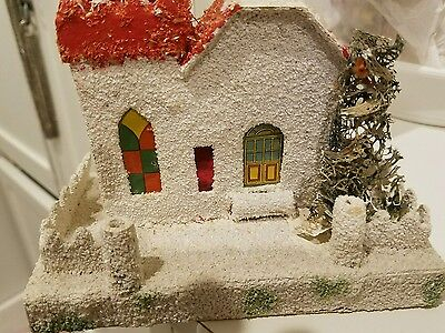 Lg. Antique  house for Christmas Village for Feather tree