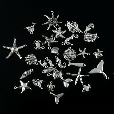 Alloy Ocean Animals Fishes Charms Pendant Jewelry Antique Silver 30pcs