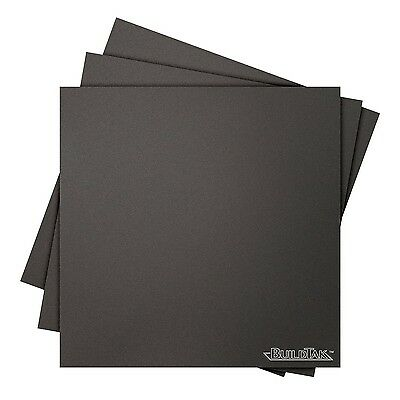 """BuildTak 3D Printing Build Surface 10"""" x 10"""" Square Black (Pack of 3)"""
