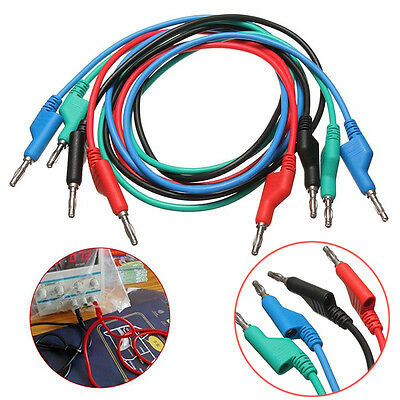 4pcs 1M 4mm Banana to Banana Plug Silicone Test Cable Lead Soft for Multimeter